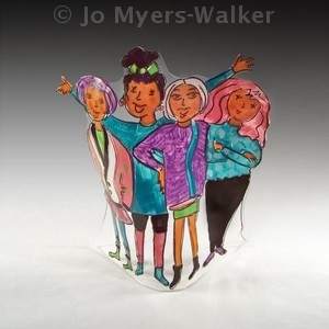 Best Friends slumped acrylic sculpture by Jo Myers-Walker