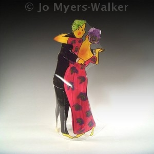 Dancing in the Moonlight slumped acrylic sculpture by Jo Myers-Walker