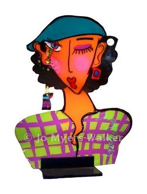Iris Winking slumped acrylic sculpture clock by Jo Myers-Walker