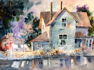 After the Rain, We Play, watercolor painting of country house after rain by Jo Myers-Walker