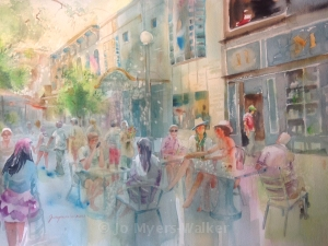 And the Story Begins, watercolor painting of street cafe by Jo Myers-Walker