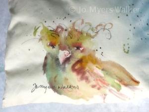 Painted bird pillow