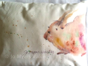 Painted bunny pillow