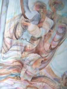 Dancing to the Harp, watercolor painting by Jo Myers-Walker