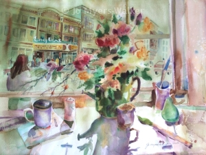 Watercolor painting of Englert theater viewed through a window by Jo Myers-Walker