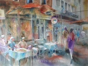 Evening at Moonrakers Gastropub, watercolor painting by Jo Myers-Walker