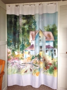 Curtain digitally printed with farmhouse watercolor by Jo Myers-Walker