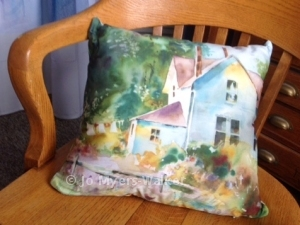 Pillow digitally printed with farmhouse scene watercolor by Jo Myers-Walker