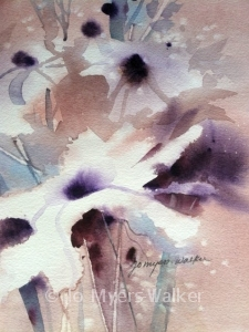 Floral Abstract watercolor painting by Jo Myers-Walker