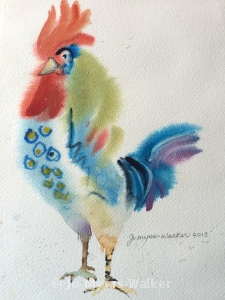 French Rooster, watercolor painting by Jo Myers-Walker