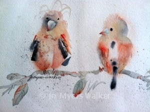 Friends of a Feather watercolor painting of two birds by Jo Myers-Walker