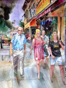 Game Day Hamburg Inn, watercolor painting of Iowa City scene by artist Jo Myers-Walker