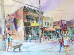 Hamburg Inn Saturday Morning, watercolor painting of Iowa City scene by Jo Myers-Walker