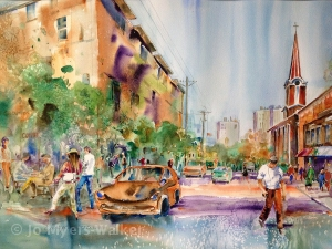 High Ground Cafe, watercolor painting of Iowa City scene by Jo Myers-Walker