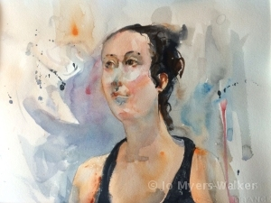 Lilly, watercolor portrait of young woman by Jo Myers-Walker