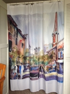 Curtain digitally printed with Linn St. watercolor by Jo Myers-Walker