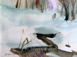 Melting Snow watercolor painting by Jo Myers-Walker