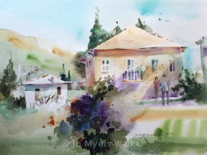 Neighbors, watercolor painting of house and yard by Jo Myers-Walker