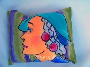 Painted profile pillow