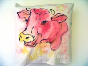 Painted cow pillow