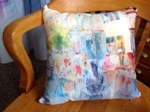Pillow digitally printed with Prairie Lights street scene watercolor by Jo Myers-Walker