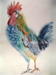Rooster watercolor print by Jo Myers-Walker
