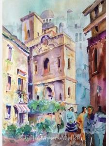 Rouen, watercolor painting by Jo Myers-Walker
