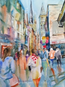 Watercolor painting of street scene in Rouen by Jo Myers-Walker