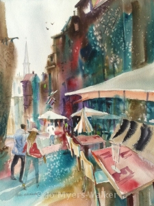 Watercolor painting of Rue Martainville in Rouen by Jo Myers-Walker