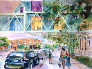 Skywalk Studying, watercolor painting of Iowa City scene by Jo Myers-Walker