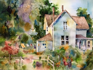 Summer, watercolor painting of country house in summer by Jo Myers-Walker