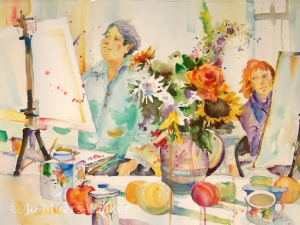 Teachable Moment watercolor painting by Jo Myers-Walker