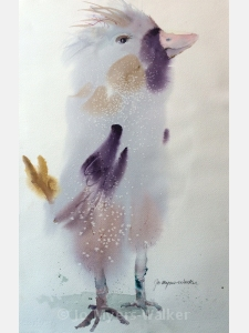Trudy, watercolor painting of stylized bird by Jo Myers-Walker