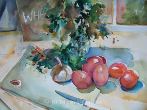 Wheatsfield watercolor painting by Jo Myers-Walker