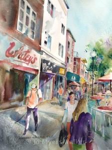 Watercolor painting of Iowa City street scene with Whiteys store by Jo Myers-Walker