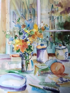 Window Wishing, watercolor painting by Jo Myers-Walker
