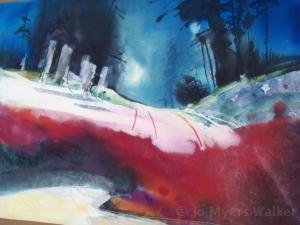Winter Walk, watercolor painting by Jo Myers-Walker