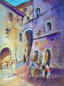 Street scene in Assisi with arch, watercolor painting by Jo Myers-Walker