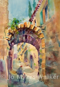 France watercolor painting by Jo Myers-Walker