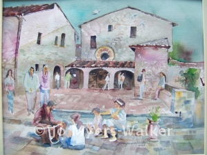 San Damiano monastery, watercolor painting by Jo Myers-Walker