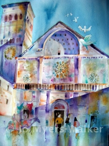 Cathedral of San Rufino, watercolor painting by Jo Myers-Walker