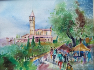 Basilica di Santa Chiara, watercolor painting by Jo Myers-Walker