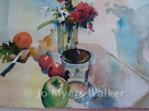 Still Life July watercolor painting by Jo Myers-Walker