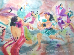 Zumba Dancing, watercolor painting by Jo Myers-Walker