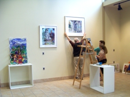 Setting up exhibit in Fairfield