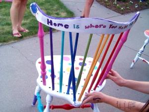 Decorated repurposed chair