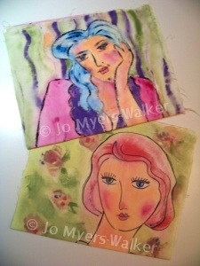 These girls are going to the Fair (painting on fabric)