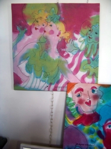 Painted fabric wall hangings by Jo Myers-Walker