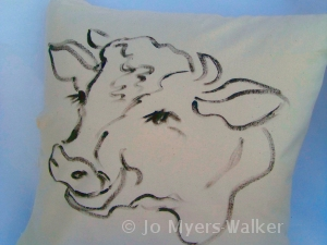 Bossy the Cow pillow by Jo Myers-Walker