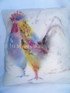 Chicken painted pillow by Jo Myers-Walker
